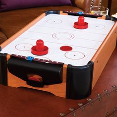 Air hockey is way more fun when you can play in any room of the house.