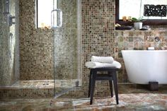 Favor an exotic style? Our Green Onyx tile turns your bath into a jade jungle hideaway.