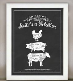 Butchers Selection Illustrated Kitchen Print | Lettered & Lined