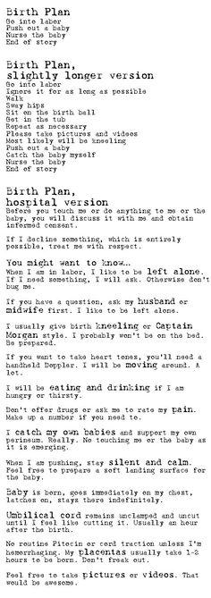 A Birth Plan.  Keep it simple!