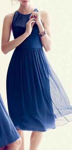 Navy Blue Chiffon Dress ♥
