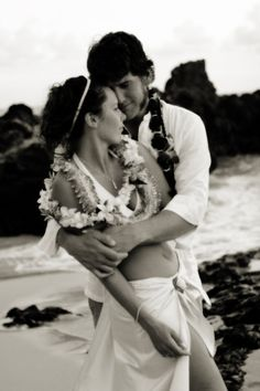 Artistic beach wedding photo