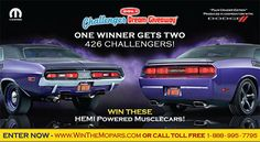 How often do you get a chance to win a pair of Plum Crazy rare Hemi Dodge Challenges and help out great causes at the same time?  Enter to win at: http://www.winthemopars.com.