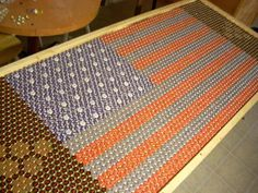 beer pong table made out of bottle caps... not into beer pong, but definitely wanna make a bottle cap table :)