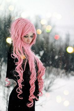 wig? soft pink loooong hair, nice curls at the ends