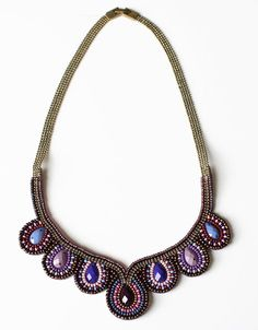 Beaded Tears Collar Necklace Plum | Accessory Foundry