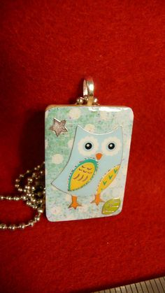 Blue and Yellow Owl Upcycled Pendant Necklace by OWLvsOCTOPI, $10.00
