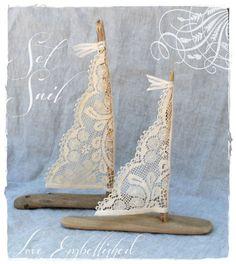 Two Driftwood Beach Decor Sail Boats with Lace Sails Coastal Beach House Seaside Wedding Decoration