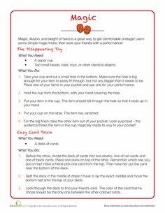 Worksheets: Easy Magic Tricks for Kids