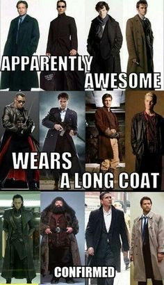 Pinning for Marvel characters: Blade and Loki in this montage.   Other notables: Neo, Sherlock, Dr. Who (even though I don't watch it, still stylish), Mal, Hagrid, John Reese (from the awesome Person of Interest)