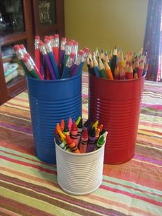 Recycle Cans into Art Supply Storage