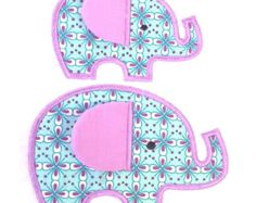 Elephant applique embroidery design. Made in the hoop with flappy ear. ITH project