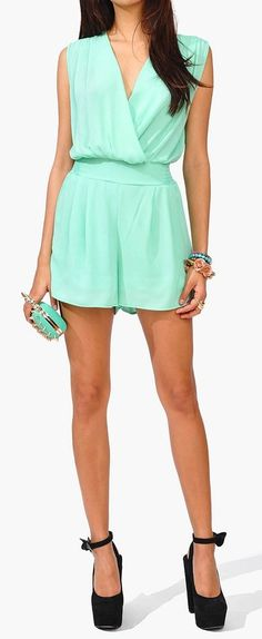 mints, fashion, style, rompers, dress, chic chick, beauti, mint romper, chick romper