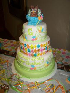 Really cute owl baby shower cake