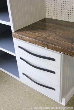 Garage Workshop Cabinets DIY Leather Drawer Pulls