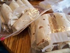 Freezer friendly chicken and refried bean burritos. 3 minutes in microwave to heat with wet paper towel.