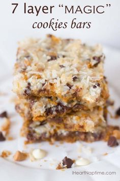 "7 layer ""MAGIC"" #cookie bars on IHeartNapTime.com ...these look delicious!! #recipes #chocolates #sweet #yummy #delicious #food #chocolaterecipes #choco #chocolate"