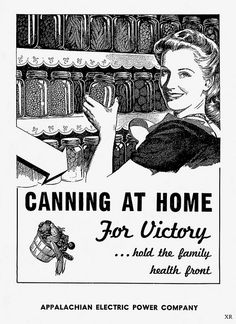 She's canning at home for Victory! #vintage #1940s #WW2 #home_front