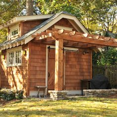 traditional garage and shed by Innovative Construction must have this dont need the pergola on it though.