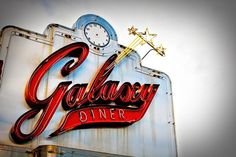Route 66 Galaxy Diner neon sign photo. Love the typography and the weathering on the sign. We saw this on our Route 66 trip.