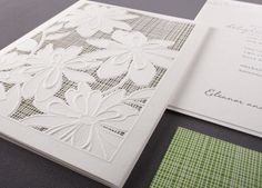 Our Grass Garden Lace folder invitation is shown here in detail, thermography printed.