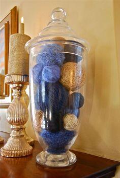 #Hanukkah mantle ~ yarn ball apothecary jars