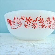 Vintage Glasbake Birds Cereal Bowl Extremely RARE by twolittleowls, $34.00