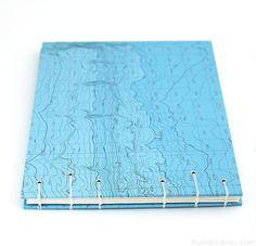 blue nautical chart handmade guestbook by Ruth Bleakley