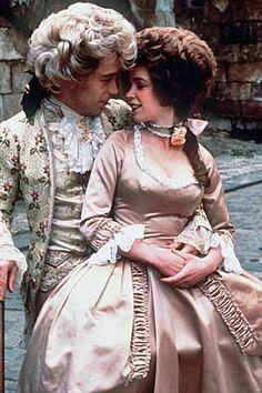 Tom Hulce as Mozart & Elizabeth Berridge as Constanze in Amadeus, 1984. Costume design by Theodor Pistek.
