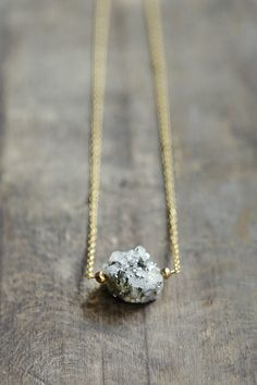 Calcite and Pyrite pendant, Natural Stone Necklace, Statement Minimal Jewelry, Raw Stone Jewelry, Raw Stone Necklace