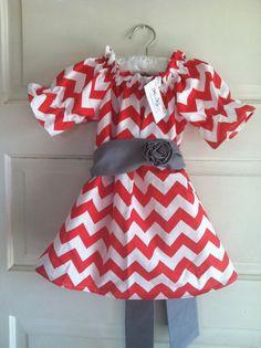 Girls Christmas dress chevron Christmas dress red by haddygrace,