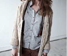 chunky sweaters with denim layers