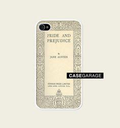 Iphone 4 Case, Iphone case, Iphone 4s Case, Iphone 4 Cover, Hard iphone 4 Case - Book Cover jane Austen Pride and Prejudice. €13.00, via Etsy.
