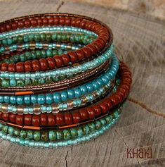 Earthy Turquoise Blue and Chocolate Brown Memory Wired Bracelet