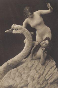 Swan Maidens, circa 1900. Magical Belle Epoque Image