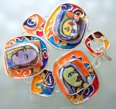 Contempory Art Bracelet  Klimtcasso by laurastamperdesigns on Etsy