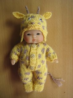 "Hand knitted Giraffe suit for a 5"" Berenguer doll."