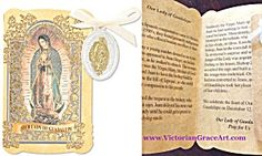 $33 Gold Embossed Prayer Card Folder with Our Lady Charm / Medal /Pendant. The back has a beautiful prayer to Our lady of Guadalupe, The Blessed Mother Virgin Mary.  Inside tells Her story. Gold tone & Silver Oxidized Metal Medal with off-white Ribbon. Medal size: 1 inch x 3/4 inch