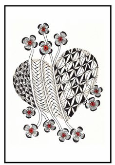 Zentangle Inspired Valentine's Day Cards by TangleMania on Etsy