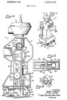 Ptak Science Books: Mall-Mortuary Faces on Robot Patent Drawings, 1936-1976