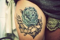 thigh tattoos, blue flowers, color, rose tattoos, tattoo patterns, inspiring pictures, blues, heart tattoos, blue roses
