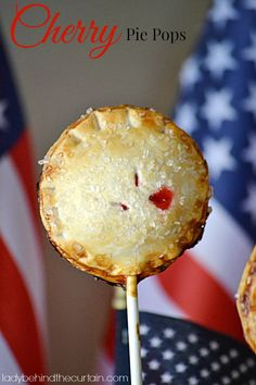 These Cherry Pie Pops are full of cherries and encased in a pie crust and baked NOT fried!  Lady Behind The Curtain
