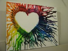 Melted Crayon Heart! love