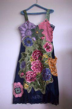 seaside womens slip dress, embellished, gypsy,bohemian, linen dress ,subtle ,women,doiley pocket from lucyvnz on Etsy