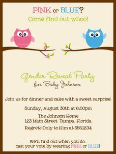 Gender Reveal Party Invites Owl
