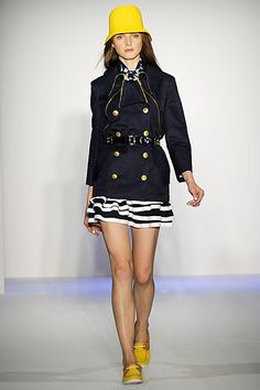 Trend: Nautical.    The nautical trends is characterized by classic  stripes, and sailor inspired accessories. Key colors: navy blue, blue, black, white, and red.