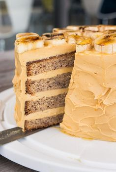 Banana Cake with Salted Caramel Icing