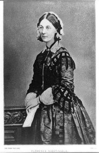 "Florence Nightingale: 12 May 1820 – 13 August 1910) was a celebrated English social reformer and statistician, and the founder of modern nursing. She came to prominence while serving as a nurse during the Crimean War, where she tended to wounded soldiers. She was dubbed ""The Lady with the Lamp"" after her habit of making rounds at night."