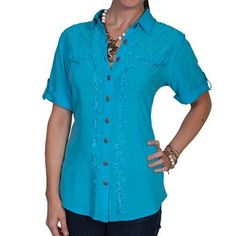 Scully Women's Short Sleeve Lace Embroidered Blouse