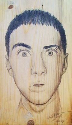 Graphite on Wood Self-portrait - Conway High School Art Project